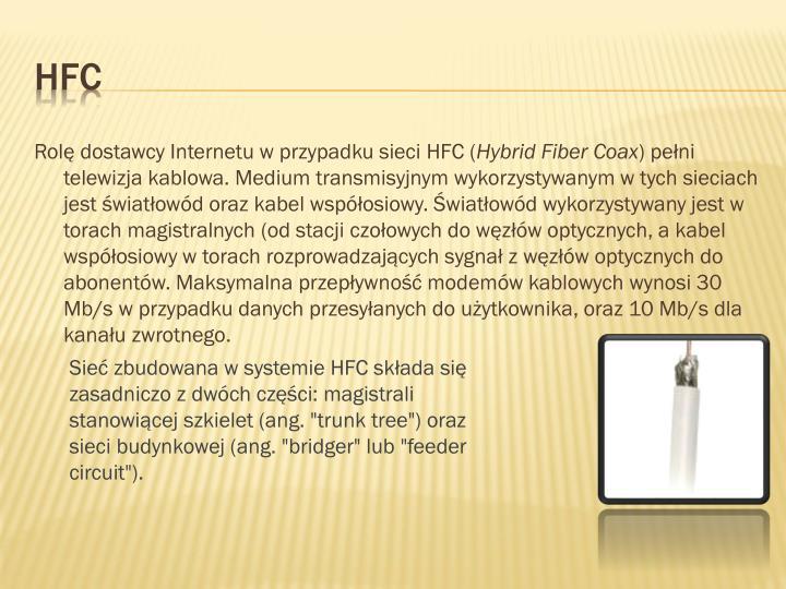 Rolę dostawcy Internetu w przypadku sieci HFC (