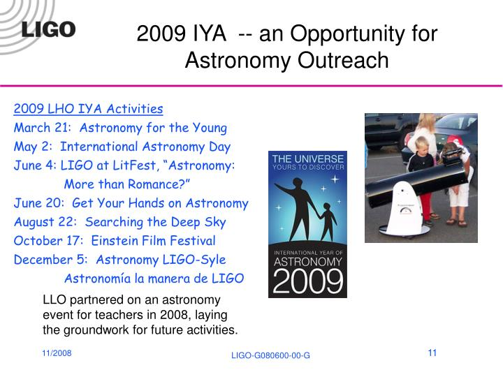 2009 IYA  -- an Opportunity for Astronomy Outreach