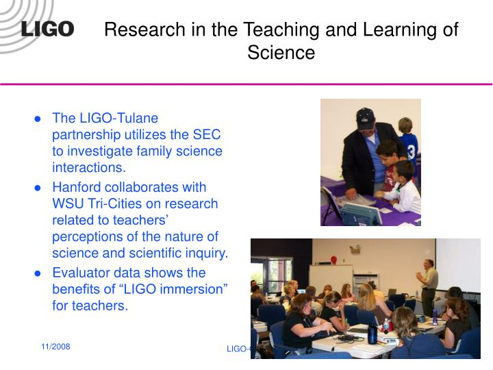 Research in the Teaching and Learning of Science