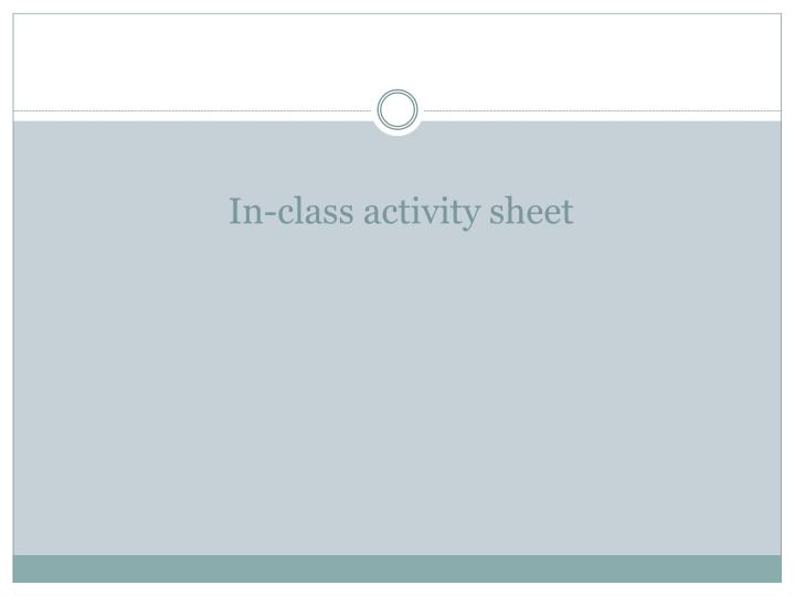 In-class activity sheet