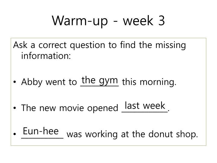 Warm-up - week 3