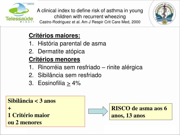 A clinical index to define risk of asthma in young children with recurrent wheezing