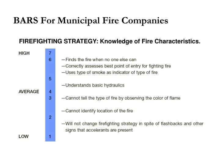 BARS For Municipal Fire Companies