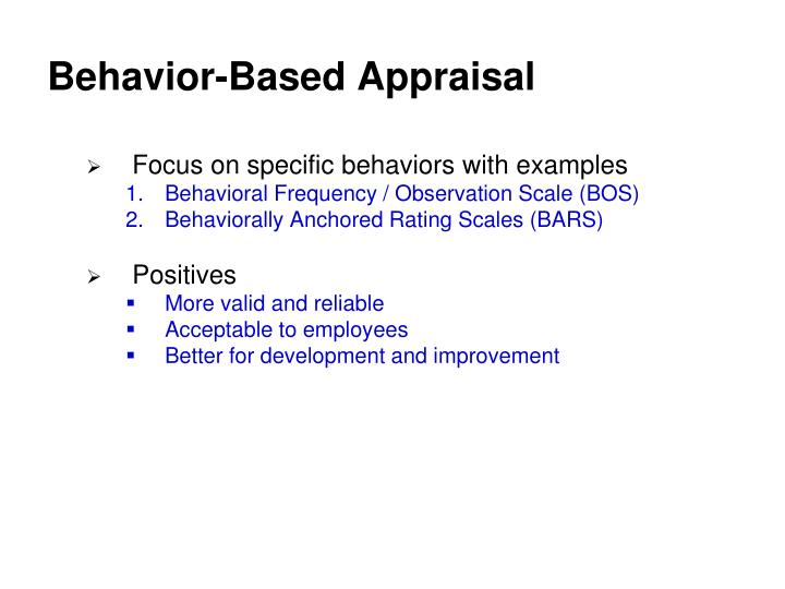 Behavior-Based Appraisal