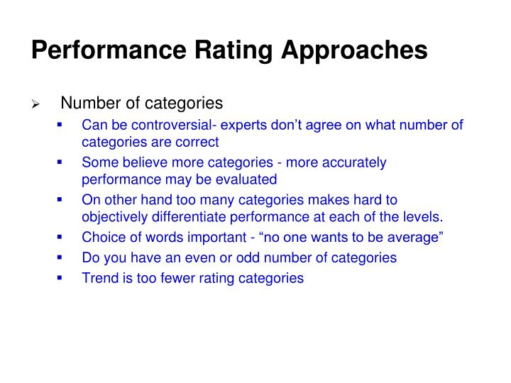 Performance Rating Approaches