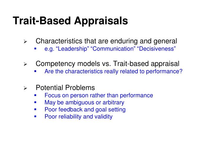 Trait-Based Appraisals