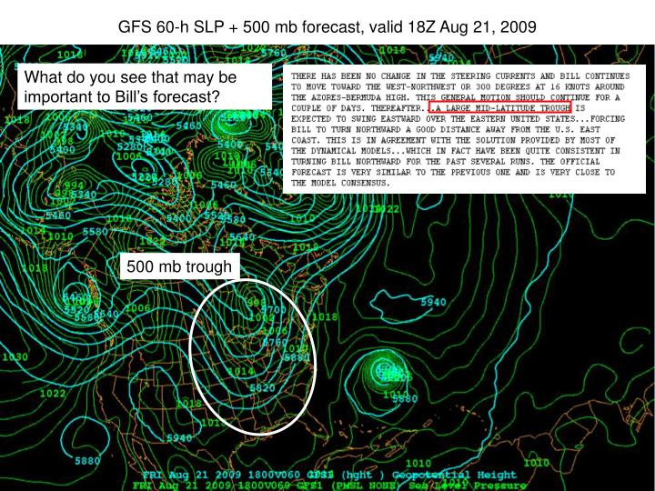 GFS 60-h SLP + 500 mb forecast, valid 18Z Aug 21, 2009