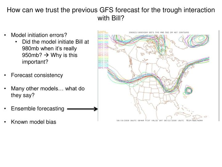 How can we trust the previous GFS forecast for the trough interaction with Bill?