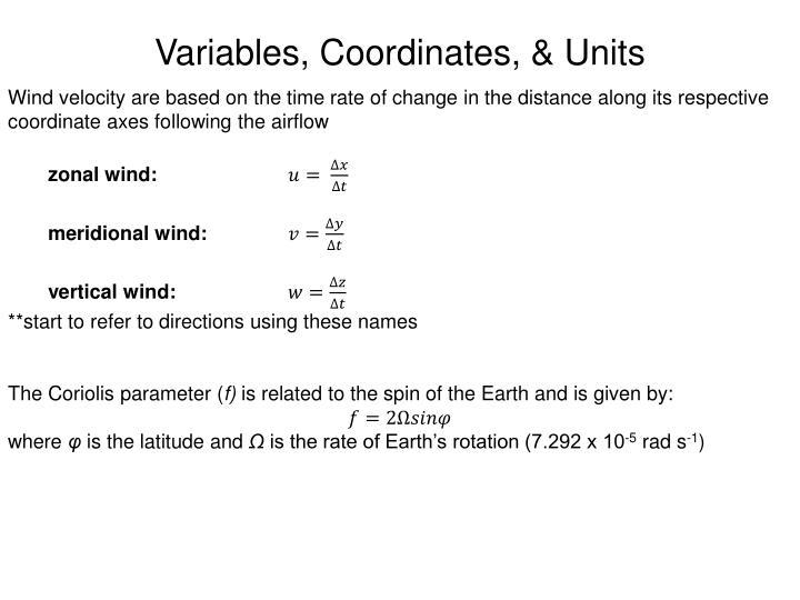 Variables, Coordinates, & Units