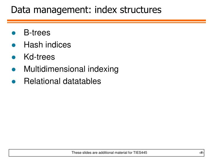 Data management: index structures