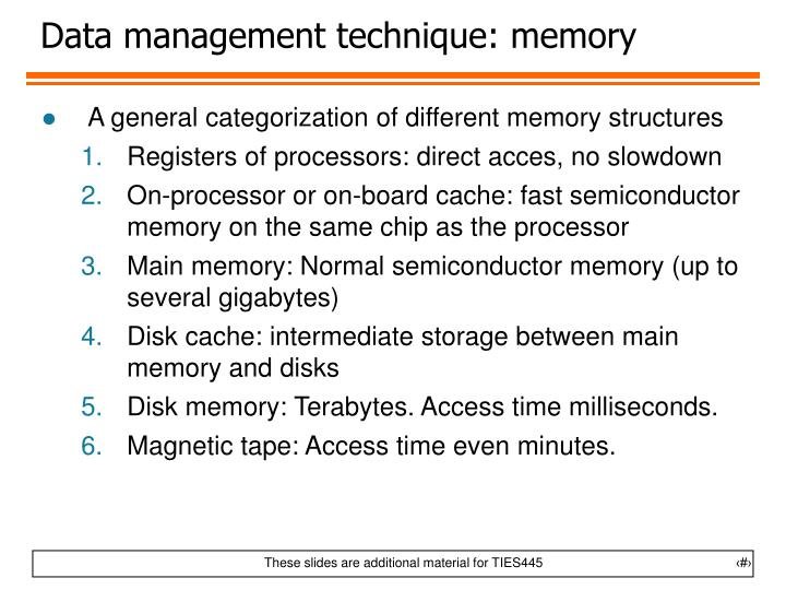 Data management technique: memory
