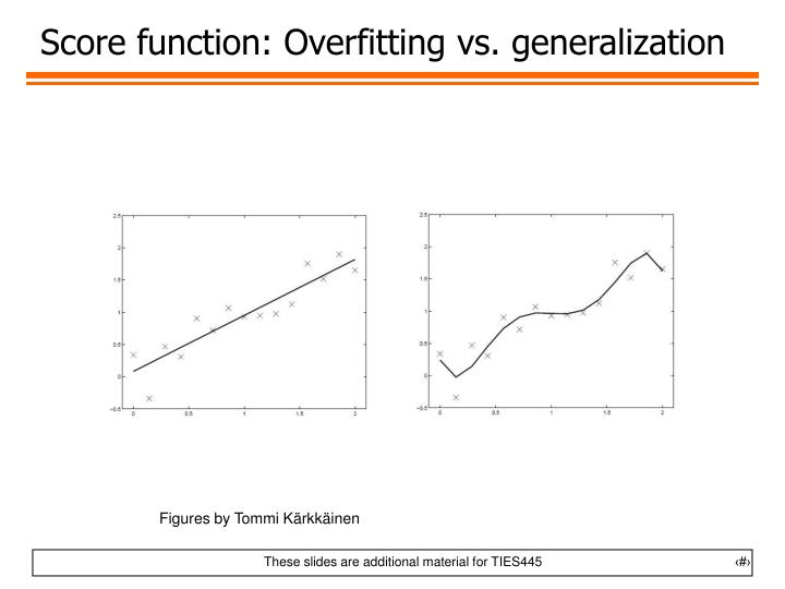 Score function: Overfitting vs. generalization