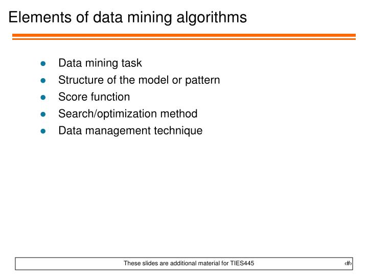 Elements of data mining algorithms