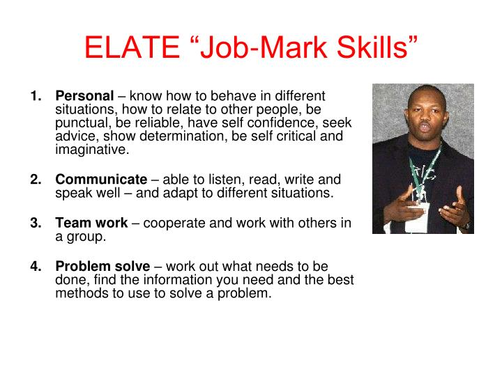 Elate job mark skills