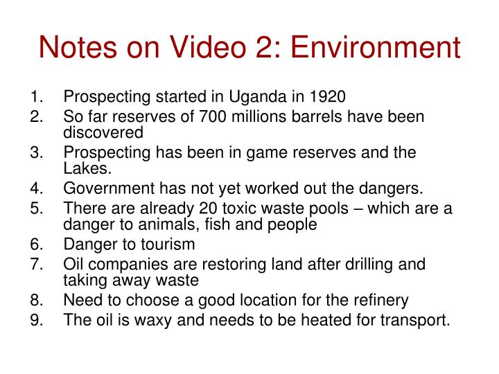 Notes on Video 2: Environment