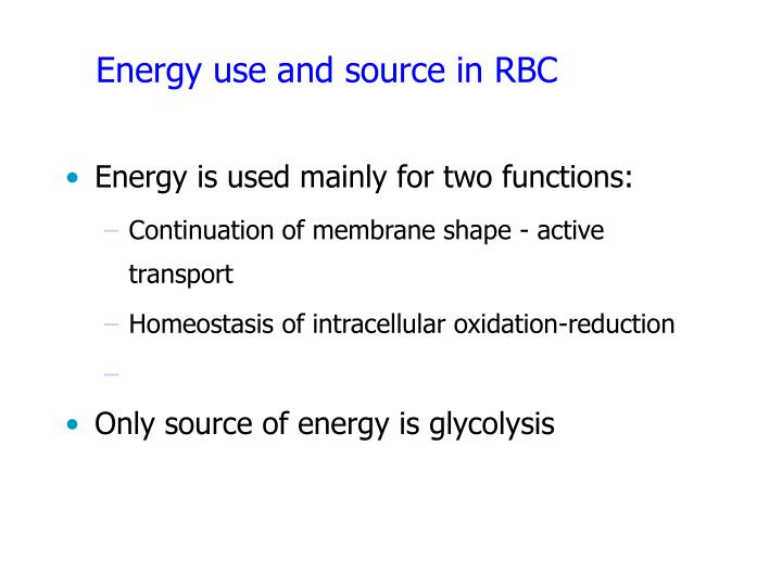 Energy use and source in RBC
