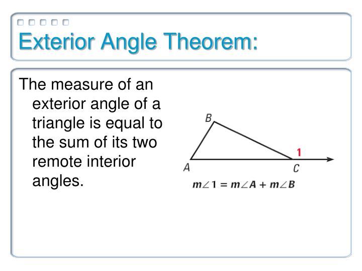 Exterior Angle Theorem: