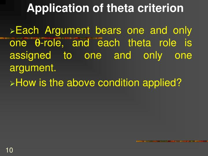 Application of theta criterion