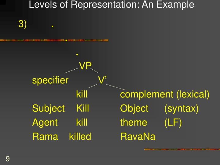 Levels of Representation: An Example