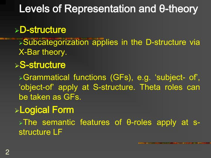 Levels of Representation and