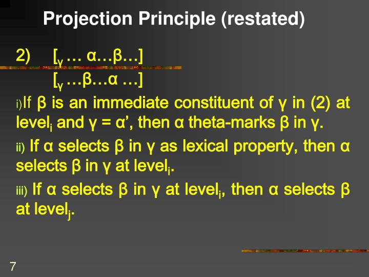 Projection Principle (restated)
