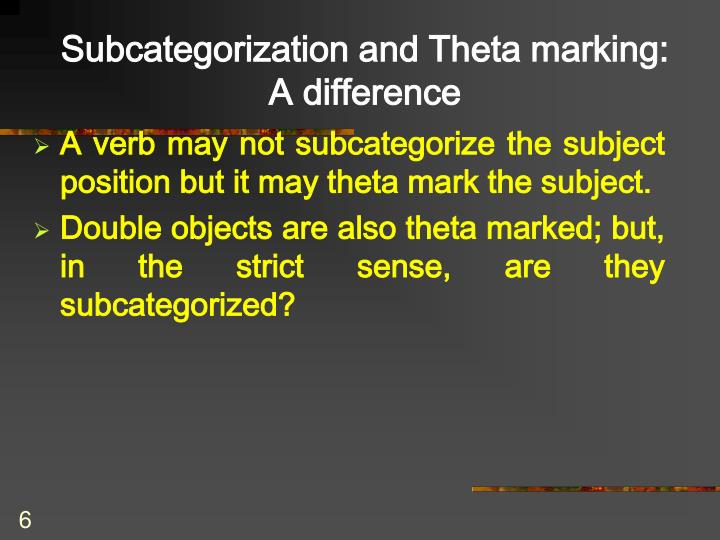 Subcategorization and Theta marking: