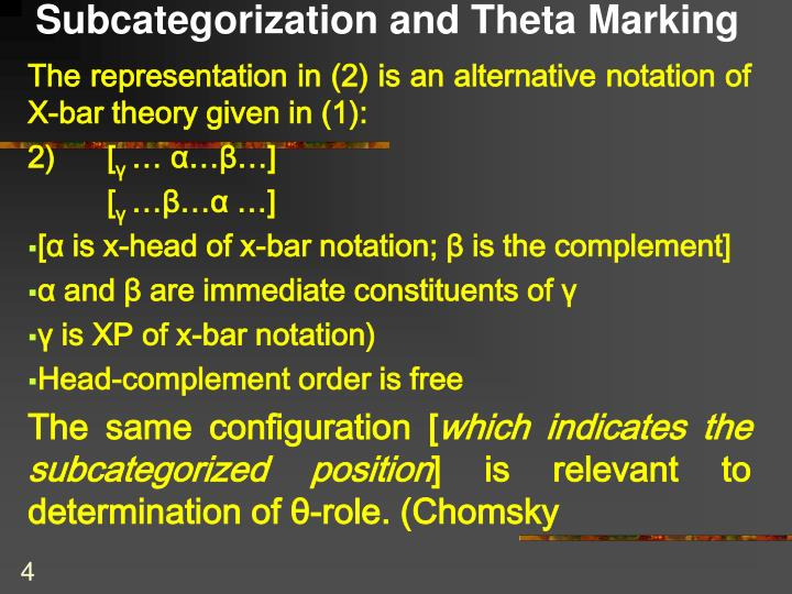 Subcategorization and Theta Marking