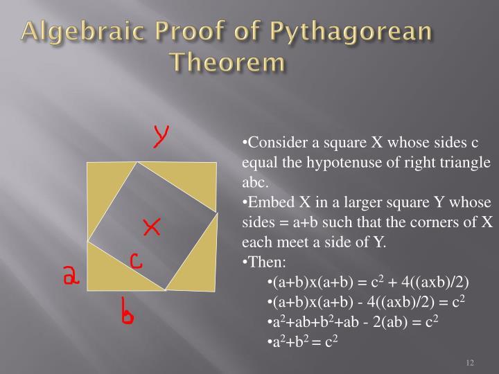Algebraic Proof of Pythagorean Theorem