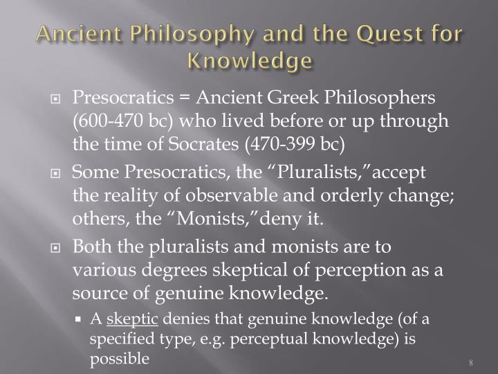 Ancient Philosophy and the Quest for Knowledge