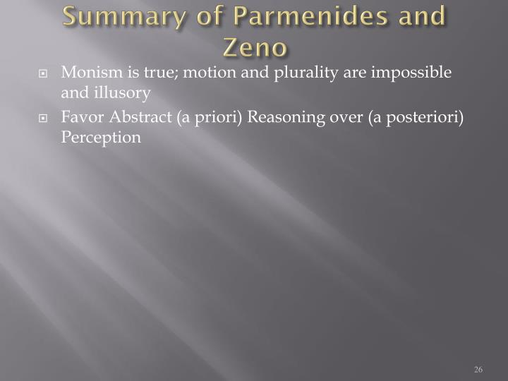 Summary of Parmenides and Zeno