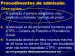 procedimentos de admiss o