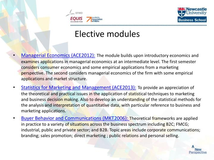 Elective modules
