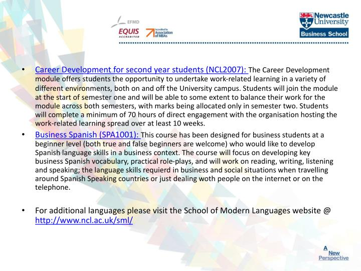 Career Development for second year students (NCL2007):