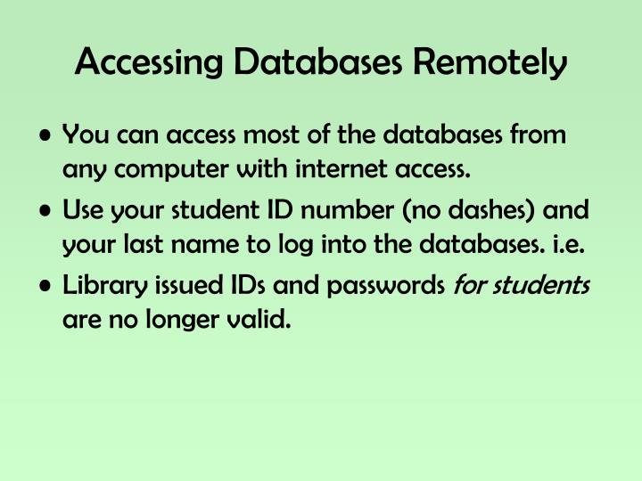 Accessing Databases Remotely