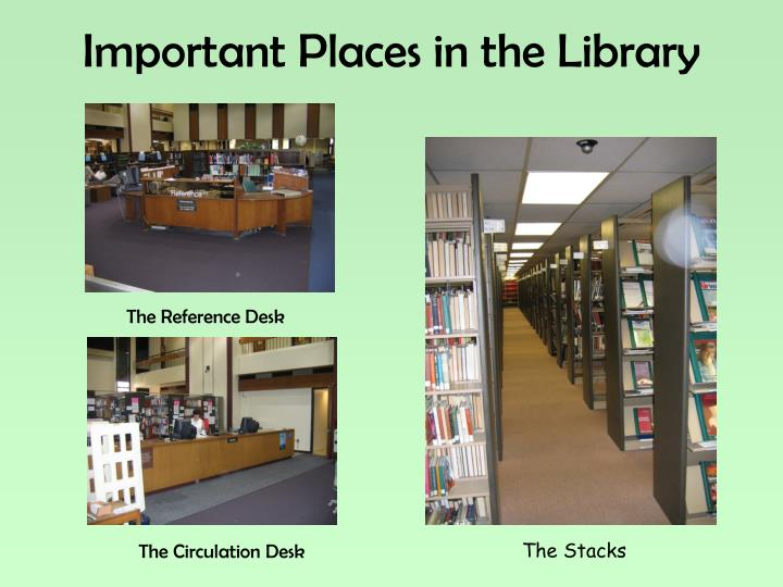 Important Places in the Library