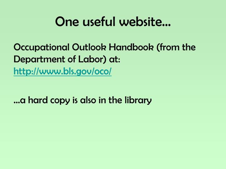 One useful website…