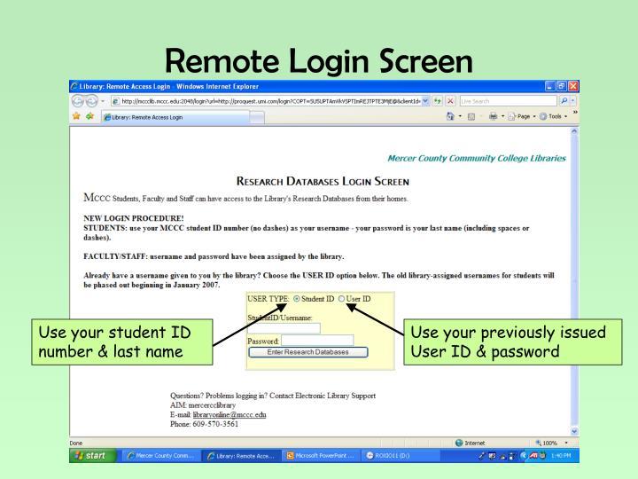 Remote Login Screen