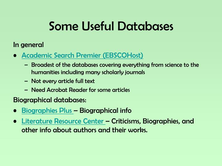 Some Useful Databases