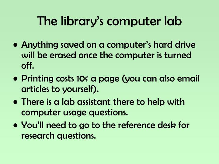 The library's computer lab