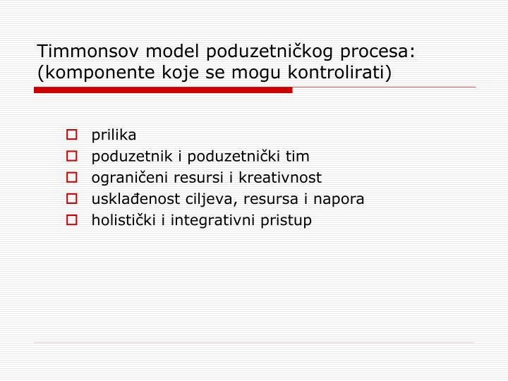 Timmonsov model poduzetničkog procesa: