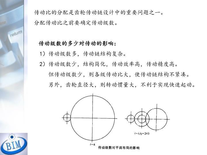 传动比的分配是齿轮传动链设计中的重要问题之一。