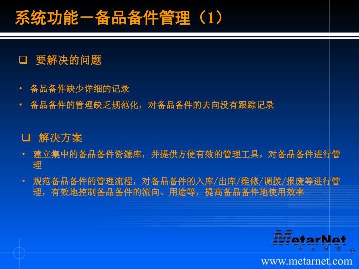 系统功能-备品备件管理(