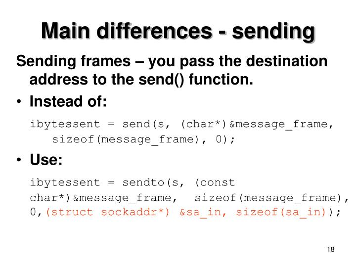 Main differences - sending
