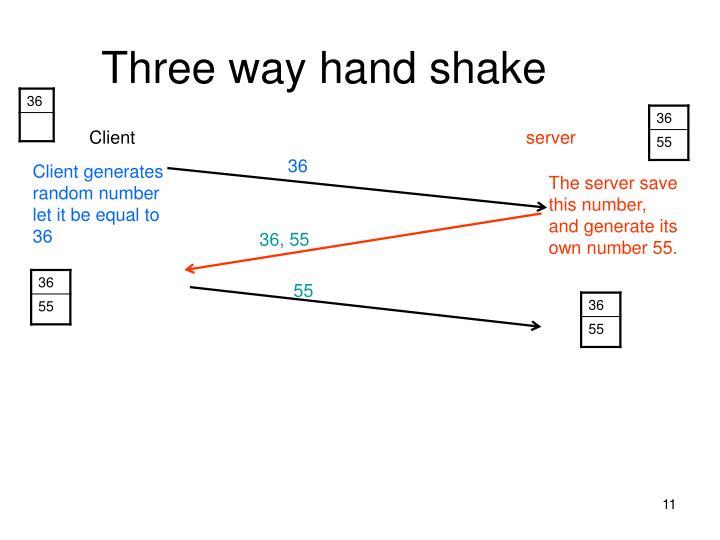 Three way hand shake