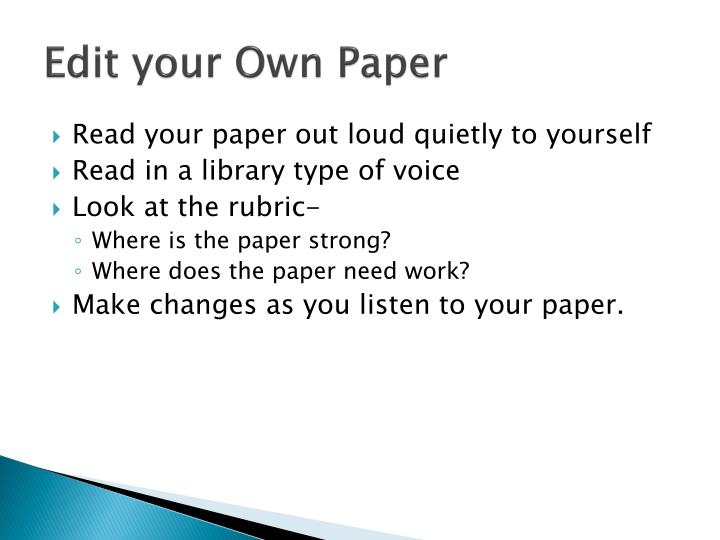 Edit your Own Paper