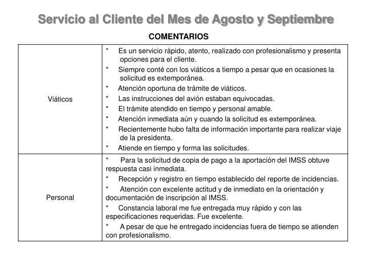Servicio al Cliente del Mes de Agosto y Septiembre