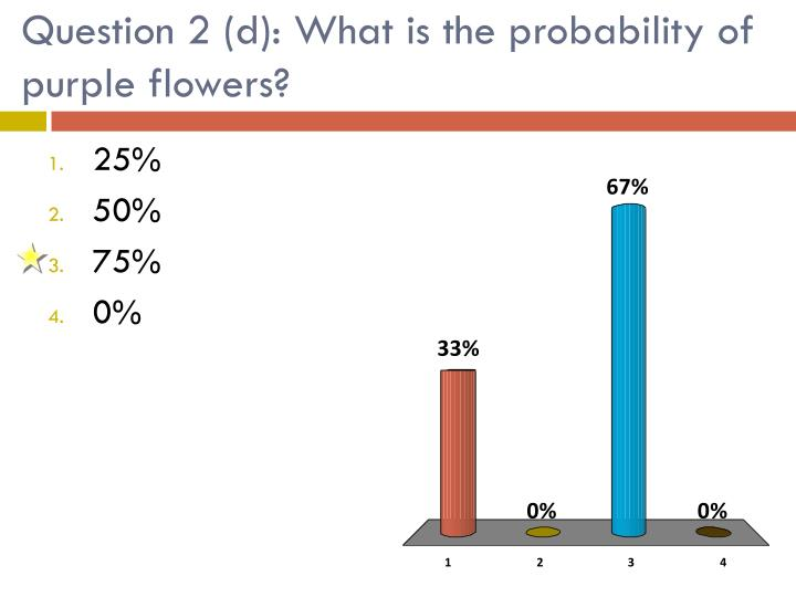 Question 2 (d): What is the probability of purple flowers?