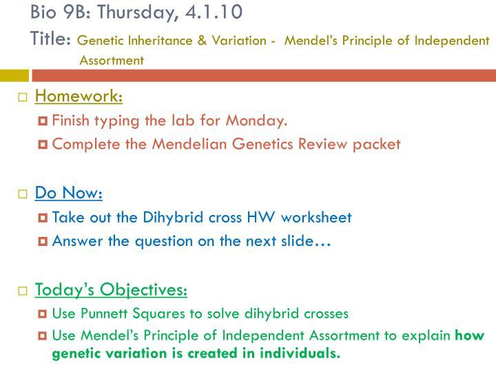 Bio 9B: Thursday, 4.1.10