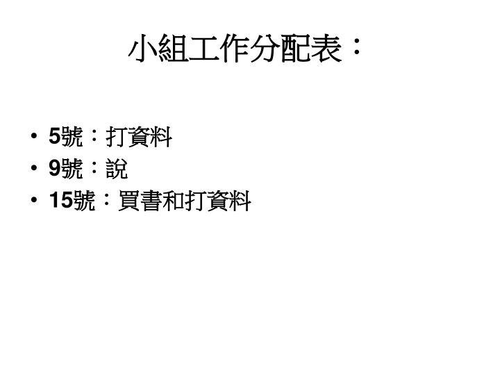 小組工作分配表: