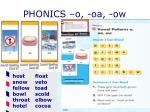 phonics o oa ow